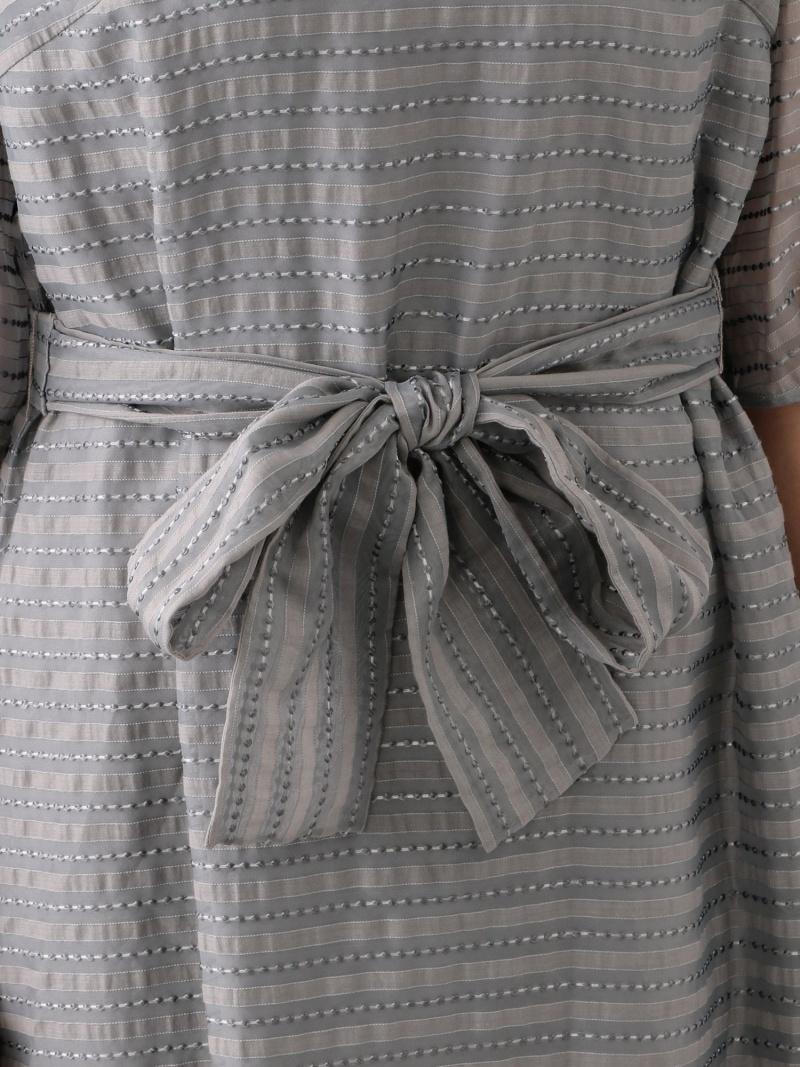 Rakuten FashionSALE 51 OFFL ドットボーダージャカードドレス TO BE CHIC 大きいサイズサンヨー エルサイズ ワンピース シャツワンピース グレー ブラック RBA E送料無料CBdoxe