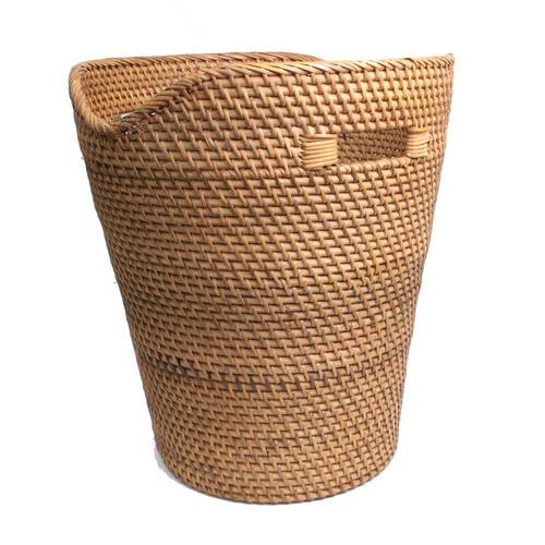 アタ ラタンで編まれた 波型円形バスケット もち手 【メール便不可】タオルバスケット おもちゃ収納 野菜入れ