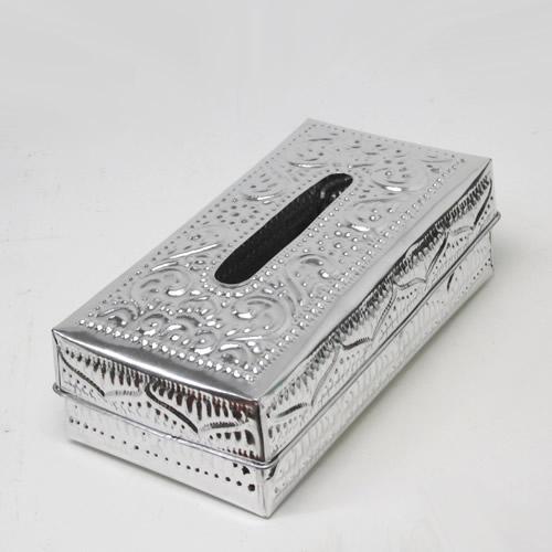 配送員設置送料無料 表面のアルミアートのデザインが可愛い ティッシュボックスB アルミアート シルバー 宅急便のみ 新商品 クリスマス ティッシュBOX
