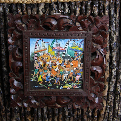 イ・クトゥッ・ソキ(I Ketut Soki)のバリ絵画BARONG(バロン)木製額つき原画(H)15×15【送料無料】【証明書付き】バリ島、スパ、カフェ、美容、バリ絵画