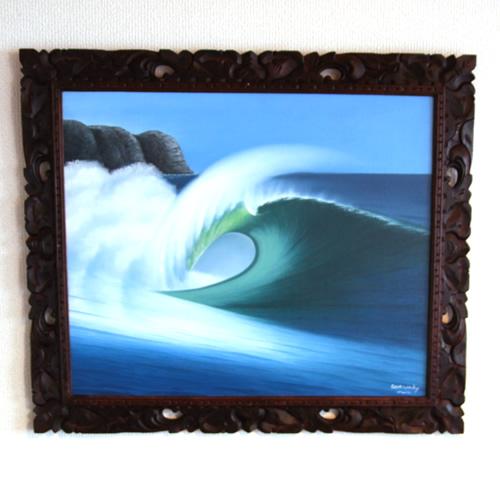 ウィンディ(WINDY)の波の絵(B)木製額つき72.5cm×62cm【送料無料】バリ島、スパ、カフェ、美容、バリ絵画