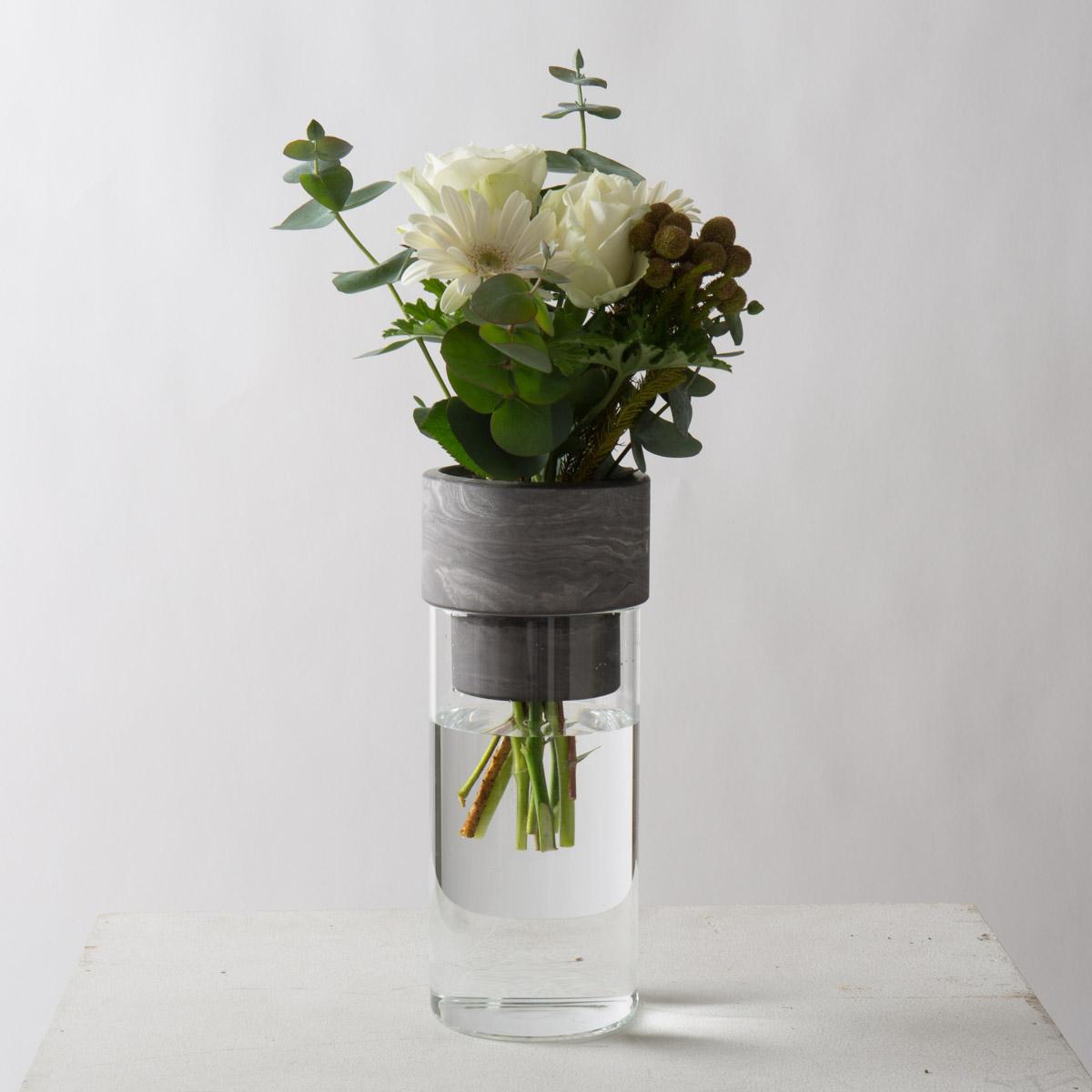 フラワーベース セメント モルタル [〈R-Noo〉TARN-M フラワーベース セメント&グラス-M(グレー)] サラサデザインストア