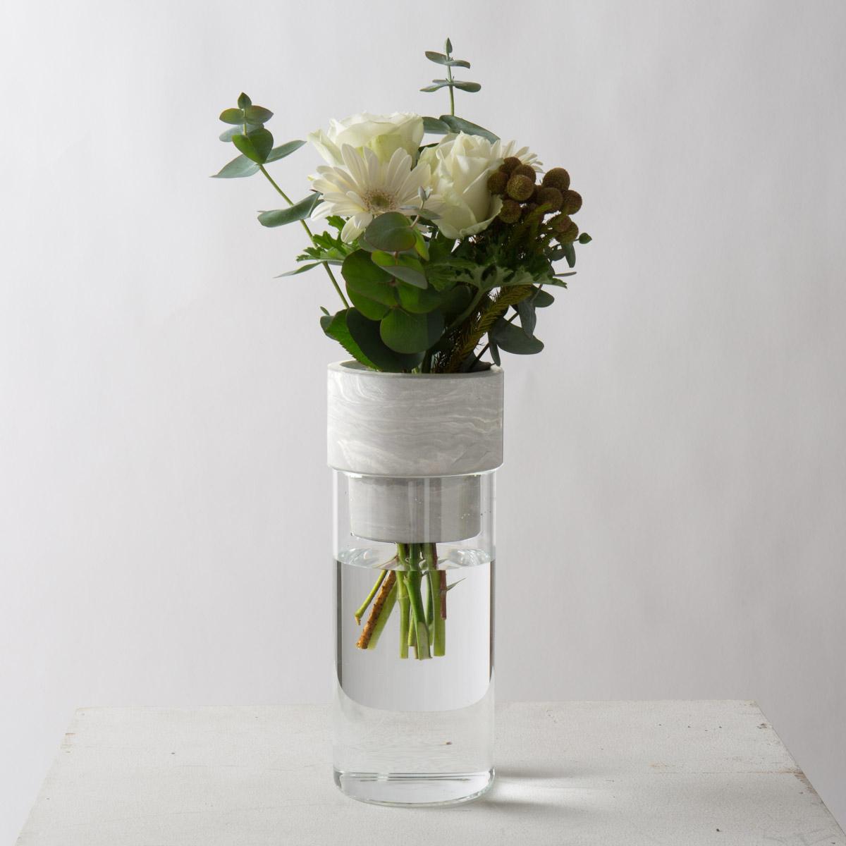 フラワーベース セメント モルタル [〈R-Noo〉TARN-M フラワーベース セメント&グラス-M(ホワイト)] サラサデザインストア