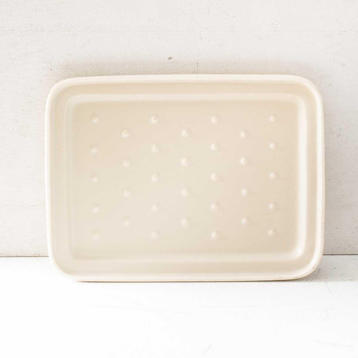 直火・オーブン・電子レンジ・ガスコンロのグリルでもつかえる薄型の陶器製ダッチオーブン型グリラー[イブキクラフト TOOLS グリラー(ベージュ)]