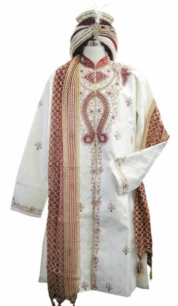 シャルワーニー(インド男性用礼装)白×ワイン 3点セット※ターバンは別売り インドメンズ衣装 インド礼装 インド婚礼衣装 インド男性用ブライダル衣装 ブライダル民族衣装 男性用フォーマル民族衣装