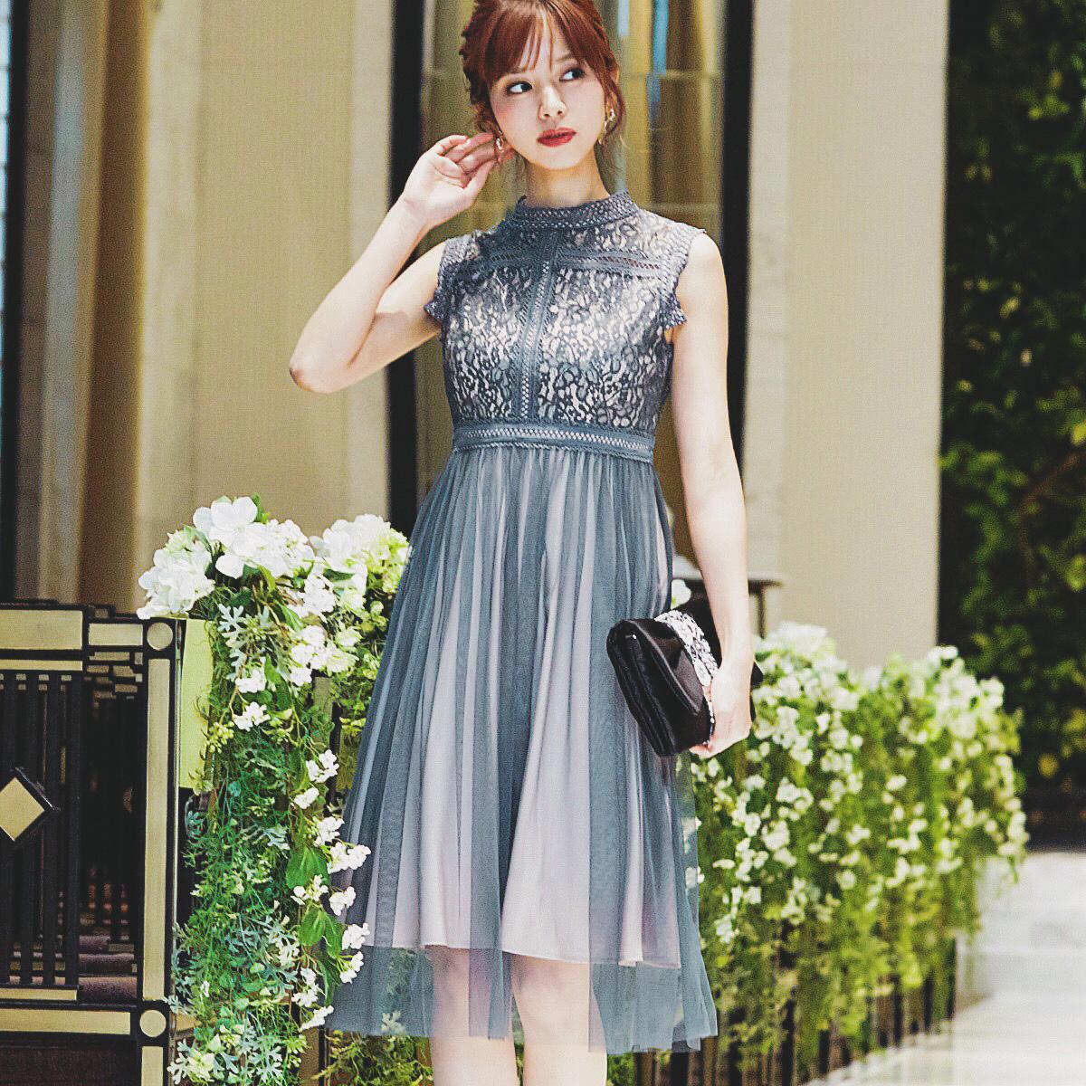 529ff5712f9b0 かわいい 韓国 ファッション ワンピ チュールスカート 総レース トップス 結婚式 ワンピース 二次会 フォーマル 披露宴 呼ば