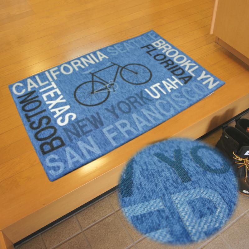 人気 自転車大好き 50x80cm サイクル ブルー色 ゴブランシェニール織 インテリアマット 玄関マット 価格 交渉 送料無料 室内用マット