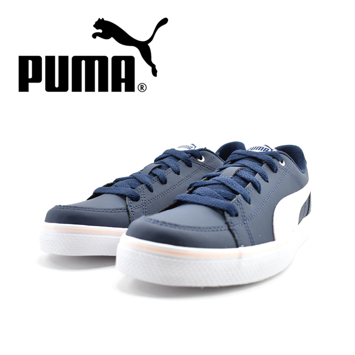 プーマ PUMACOURT POINT VULC V2 BG コートポイント ローカット ヒモ 紐 レースアップ 運動会・通学・通園 ピーコート/オーキッド ネイビー(Peacoat/Pearl) 362947 スニーカー キッズ 子供 女の子 シューズ 靴
