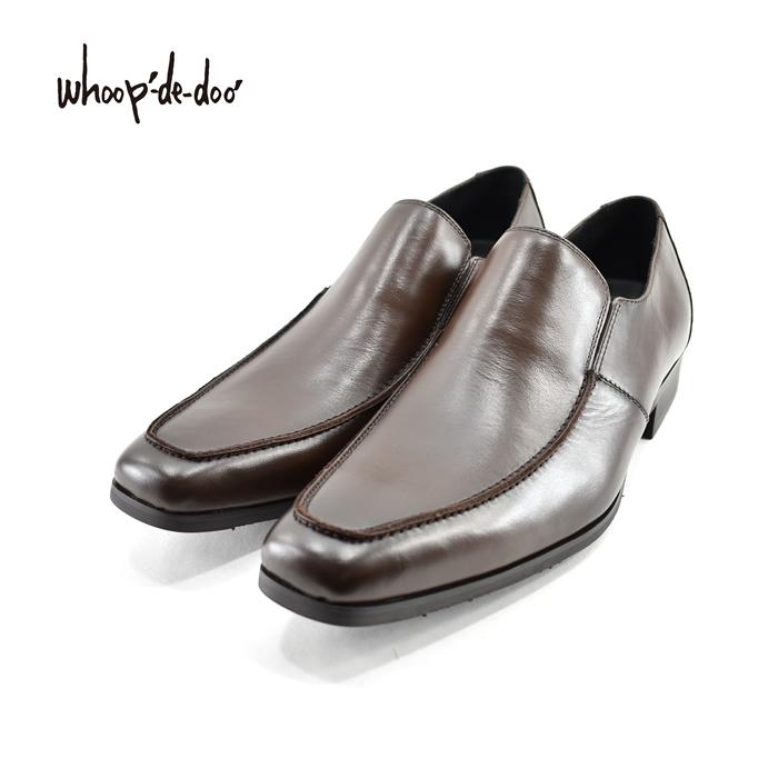 フープディドゥ whoop-de-dooスリッポン スリップオン レイン対応 防水 撥水 スクエアトゥ Uチップ Uモカ 拝みモカ ビジネス・紳士 茶(ダークブラウン) 308892 ローファー メンズ シューズ 靴