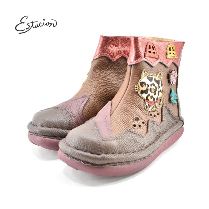 エスタシオン Estacion本革 ショートブーツ バックジッパー ジップ ファスナー 猫 ネコ キャット レザー カラフル パッチワーク ブラウン/マルチ 茶(BR/MT) TGE320 ブーツ レディース シューズ 靴