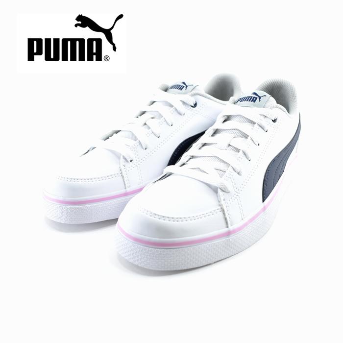 プーマ PUMACOURT POINT VULC V2 BG コートポイント ローカット ヒモ 紐 レースアップ 運動会・通学・通園 プーマホワイト/ペールピンク 白・シロ(Puma White/Pale Pink) 362947 スニーカー キッズ ジュニア 子供 女の子 シューズ 靴