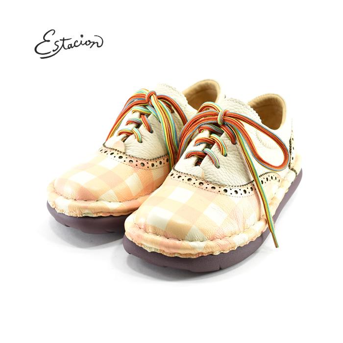 エスタシオン Estacionレースアップ カジュアル 可愛い かわいい ブロックチェック ギンガムチェック トラッド 本革 牛革 レザー (オレンジ) TG246CK スニーカー レディース シューズ 靴