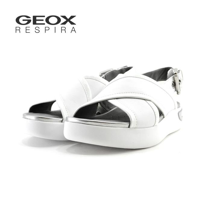 ジェオックス Geoxジオックス 08554 D OTTAYA レザー 厚底 バックストラップ バックバンド ホワイト・白・シロ(WHITE) D92CMA ストラップサンダル レディース シューズ 靴