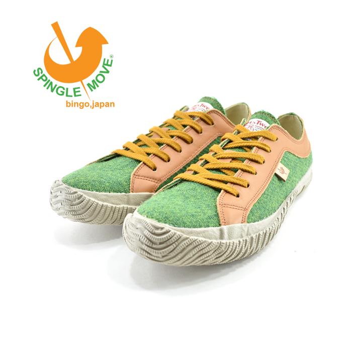 スピングルムーヴ SPINGLE MOVEスピングルムーブ ハリスツイードコラボ ローカット 日本製 通学・通勤 グリーン(GREEN(25cm~)) SPM130 スニーカー メンズ ユニセックス シューズ 靴