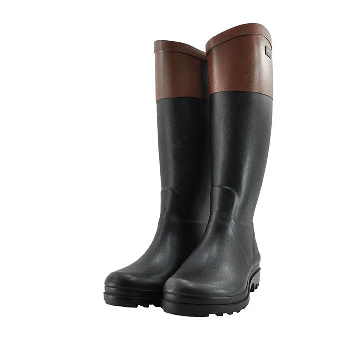 ZZF8881 長靴 防水 ブラック レディース ノアール/アンバー ラバー エーグランティーノ AIGLEAIGLENT エーグル 通学・通勤 クロ/ブラウン ノワール/アンバー 32(NOIR/AMBRE) カラーブロック シューズ レインシューズ COL2 黒 靴