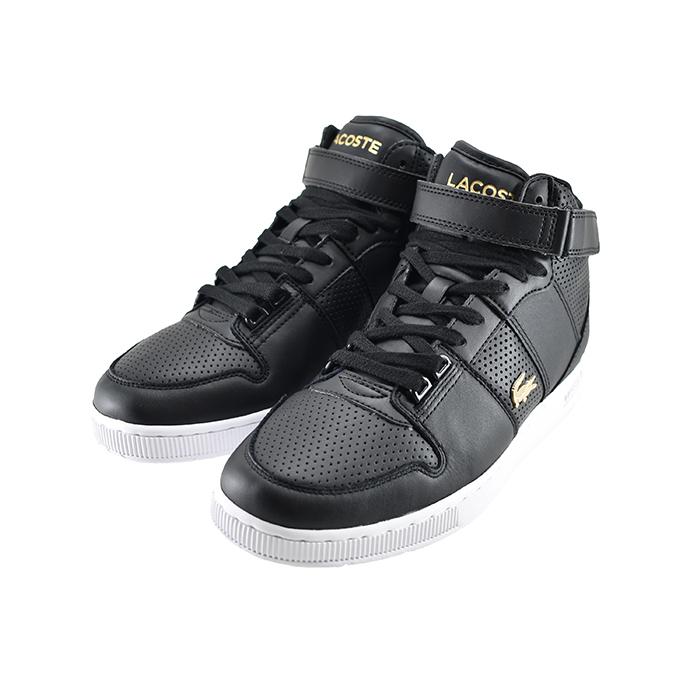 ラコステ LACOSTETRAMLINE MID 120 1 US トラムライン ミッド 120 1 ミッドカット ハイカット パンチング ブラック/ホワイト 黒 クロ 42(BLK/WHT) SFA036L スニーカー レディース シューズ 靴
