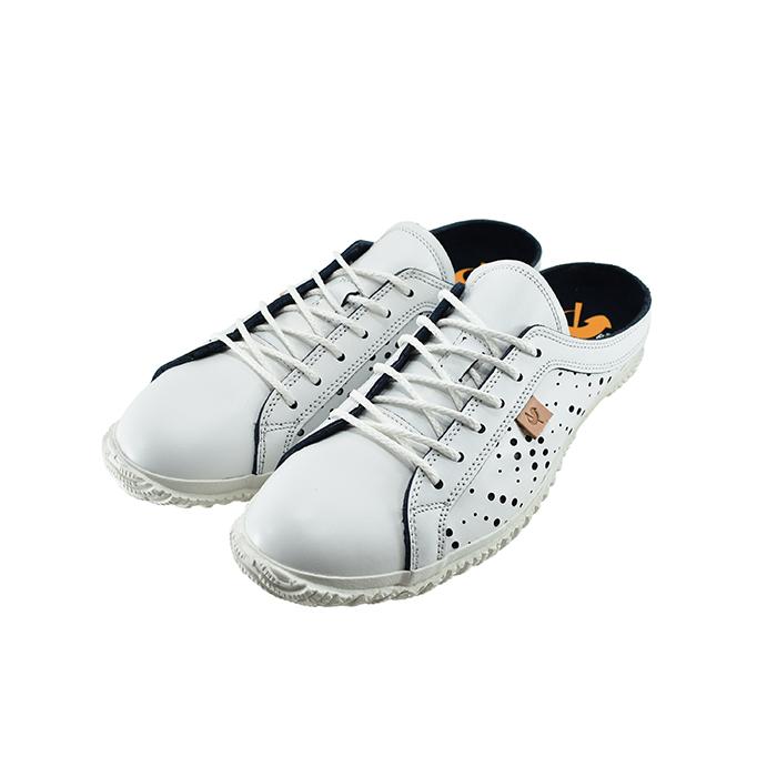 スピングルムーヴ SPINGLE MOVEスピングルムーブ クロッグタイプ スライド サンダル パンチング レザー 日本製 ホワイト/ネイビー 白 シロ 52(WHITE/NAVY(25cm~)) SPM721 スニーカー メンズ ユニセックス シューズ 靴