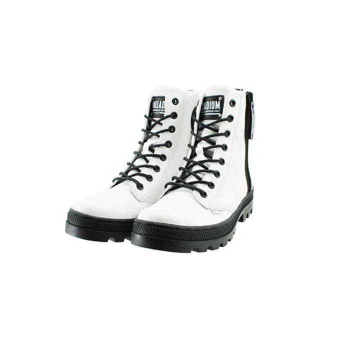 送料無料 メイルオーダー PALLADIUM ブーツ パラディウム PALLADIUMPALLABOSSE OUTZIP LTH パラボス オートジップ レザー 編み上げ レースアップ ジップアップ シロ 92 靴 白 レディース WHITE 96840 シューズ ファスナー サイド ランキング総合1位 ジッパー ホワイト