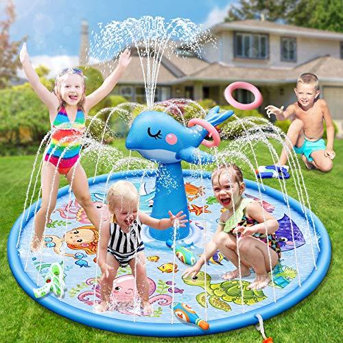 いるか 捧呈 噴水マット 噴水プール ビーチマット 販売期間 限定のお得なタイムセール ビニールプール 水遊び 噴水 庭 子供用 おもちゃ 芝生遊び プレイマット 夏の日
