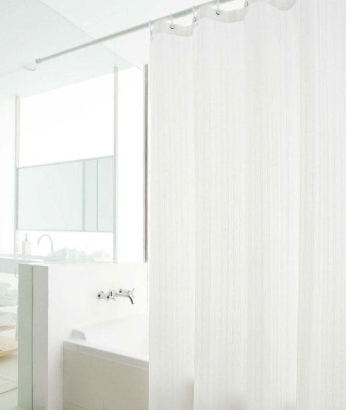 シャワーカーテン 全3色織り柄シンプルストライプ仕上幅W:265cm~360cm仕上丈H:145cm~180cm防炎加工 ウォッシャブル(洗濯機OK)撥水加工 防水 日本製 国産