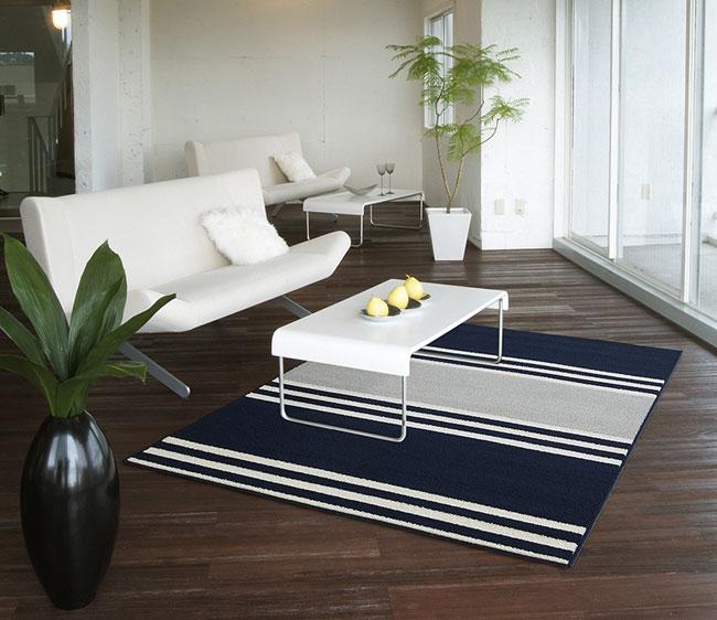 NEXT HOME フレンチボーダー ラグFRENCH BORDER RUG【サイズ:130cm×190cm】防ダニ加工 日本製 床暖対応 滑り止め付き