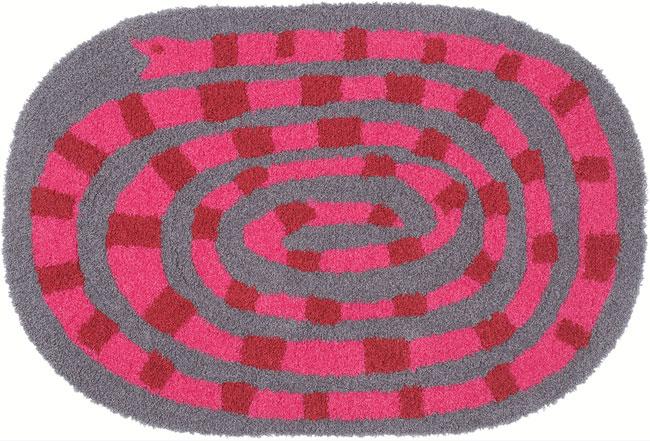 NEXT HOME キャンディーヘビ ラグ マット/ピンクテキスタイルデザイナー Masaru Suzuki(鈴木マサル)【サイズ:60cm×90cm 】candyhebi pink rug mat防ダニ加工 日本製 床暖対応 防炎加工