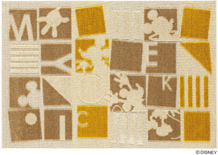 ミッキー パズルピース ラグ カーペット【サイズ:約130cm×190cm】【日本製】Disney/MICKEY/Puzzle piece RUG【DRM-1055】ディズニー スミノエ ラグマットシリーズ