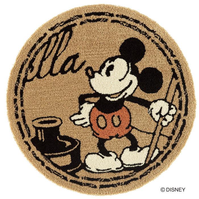 ディズニー スミノエ ラグマットシリーズミッキー スタンプ ラグ カーペット【サイズ:約90cm×90cm円形】【日本製】Disney/MICKEY/Stamp RUG【DRM-4057】