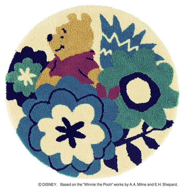 ディズニー スミノエ ラグマットシリーズプー フラワーガーデン ラグ カーペット【サイズ:約90cm×90cm円形】【日本製】Disney/POOH/Flower garden RUG【DRP-4053】くまのプーさん のラグマット