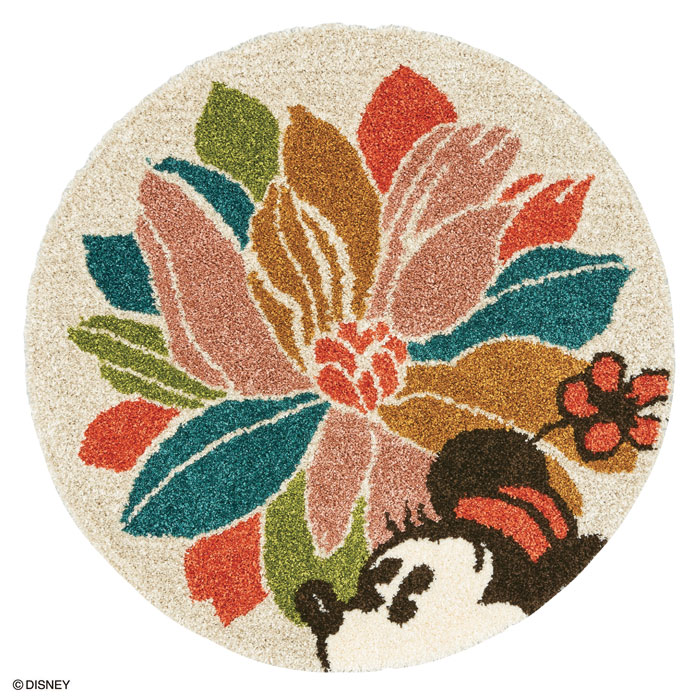 ミニー ウィズフラワーラグ マット【サイズ:約90cm×90cm(円形)】【日本製】Disney/MICKEY/With flower RUG【DRM4075】防ダニ加工 床暖房対応 日本製ディズニー スミノエ ラグマットシリーズ