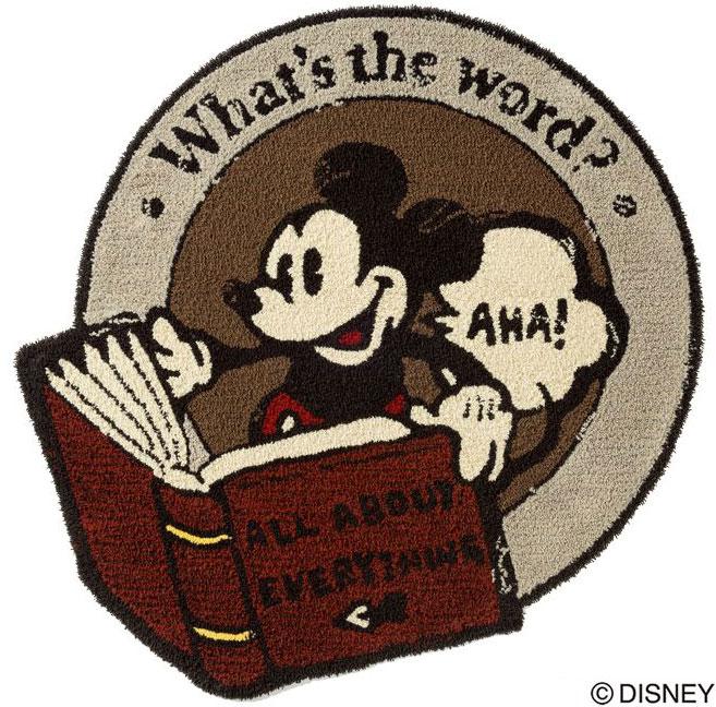 ディズニー スミノエ ラグマットシリーズミッキー ディクショナリー ラグ カーペット【サイズ:約110cm×110cm】【日本製】Disney/mickey/dictionary rug【DRM4032】