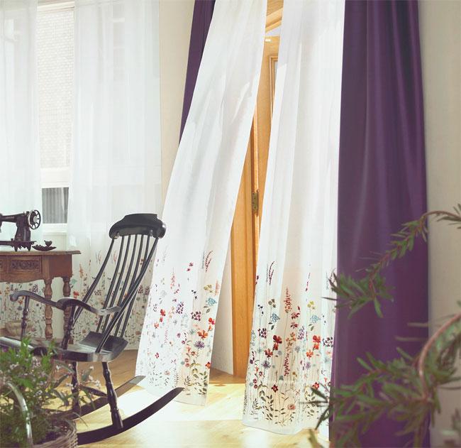 花柄刺繍のシアーレースオーダーカーテン[U-6001,U-6002]