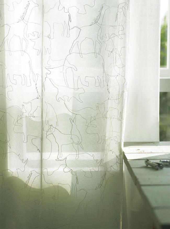 アニマル柄刺繍のシアーレースオーダーカーテン[U-6018]
