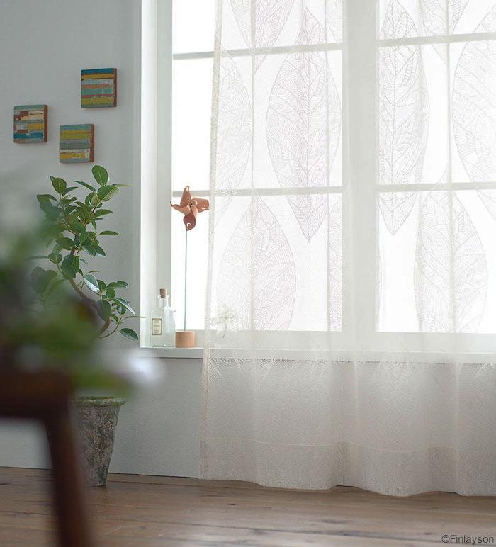 フィンレイソン デザイナーズカーテンリーフ レース KAIHO カイホ[サイズ:幅100cm×丈176cm]【2枚組】【Finlayson】既製サイズ レースカーテンウォッシャブル 日本製