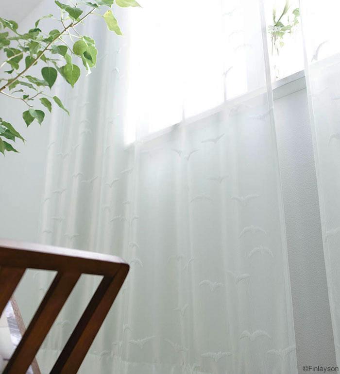 フィンレイソン デザイナーズカーテンバードパターン レース VISERRYS ヴィザルス[サイズ:幅100cm×丈198cm]【2枚組】【Finlayson】既製サイズ レースカーテンウォッシャブル 遮熱 ミラーカーテン 日本製