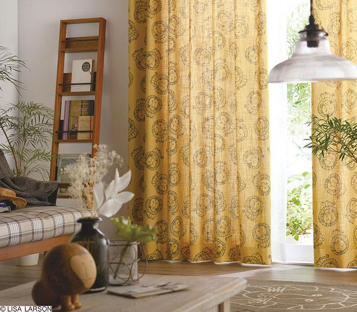 リサ・ラーソン ドレープカーテン[サイズ:幅100cm×丈200cm]【2枚組】ライオン プリント 麻混 [QL6002-20・95] 北欧 デザイナーズブランド【LISA LARSON】日本製 既製サイズカーテン