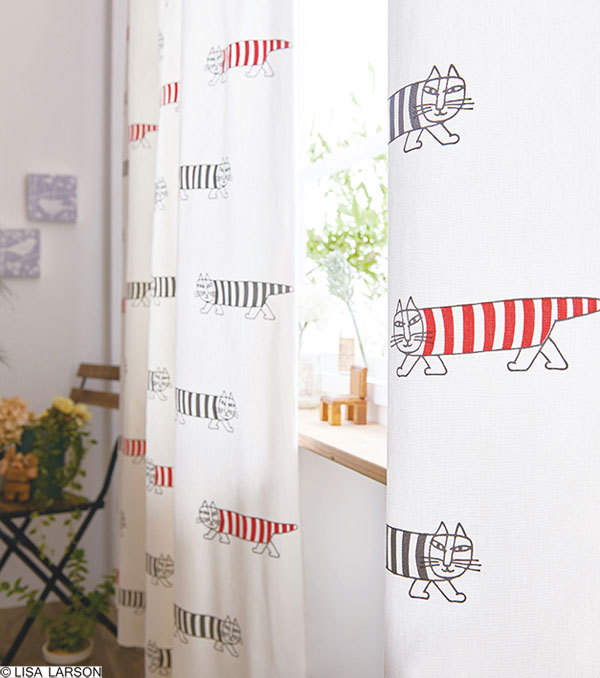 リサ・ラーソン ドレープカーテン[サイズ:幅100cm×丈220cm]【2枚組】マイキー プリント 綿オックスフォード [QL6001-05・95] 北欧 デザイナーズブランド【LISA LARSON】コットン製 日本製 既製サイズカーテン