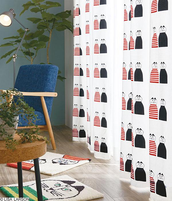 リサ・ラーソン ドレープカーテン[サイズ:幅100cm×丈178cm]【1枚入り】ミンミ プリント 綿オックスフォード [QL6004-09・15] 北欧 デザイナーズブランド【LISA LARSON】コットン製 日本製 既製サイズカーテン