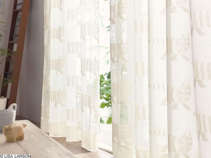 リサ・ラーソン レースカーテン[サイズ:幅100cm×丈198cm]【2枚組】マイキー ジャガードレース [QM4004-05] 北欧 デザイナーズブランド【LISA LARSON】日本製 既製サイズカーテン