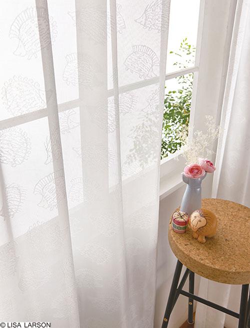 リサ・ラーソン レースカーテン[サイズ:幅100cm×丈176cm]【2枚組】ハリネズミ ジャガードレース [QM4006-03] 北欧 デザイナーズブランド【LISA LARSON】日本製 既製サイズカーテン