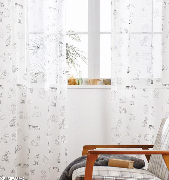 リサ・ラーソン レースカーテン[サイズ:幅100cm×丈218cm]【1枚入り】スケッチ ボイルプリント [QM4003-09] 北欧 デザイナーズブランド【LISA LARSON】日本製 既製サイズカーテン