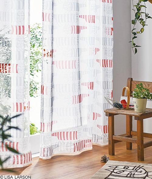 リサ・ラーソン レースカーテン[サイズ:幅100cm×丈176cm]【2枚組】マイキー ボイルプリント [QM4001-95] 北欧 デザイナーズブランド【LISA LARSON】日本製 既製サイズカーテン