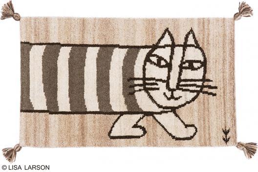 リサ・ラーソン マイキー ギャベ マット【サイズ:約50cm×80cm】インド製デザイナーズブランド 【LISA LARSON】ウール100% 手織り ギャベ織物玄関マット ルームマット