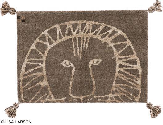 リサ・ラーソン ライオン ギャベ マット【サイズ:約50cm×80cm】インド製デザイナーズブランド 【LISA LARSON】ウール100% 手織り ギャベ織物玄関マット ルームマット