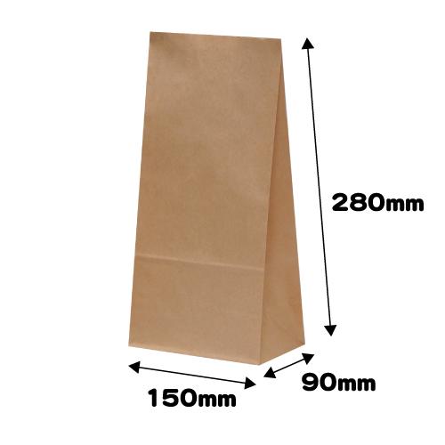 角底袋 高級品 H6 未晒 100枚 2020新作 幅150×マチ90×高さ280mm 紙袋 マチ付紙袋 業務用 クラフト 茶無地