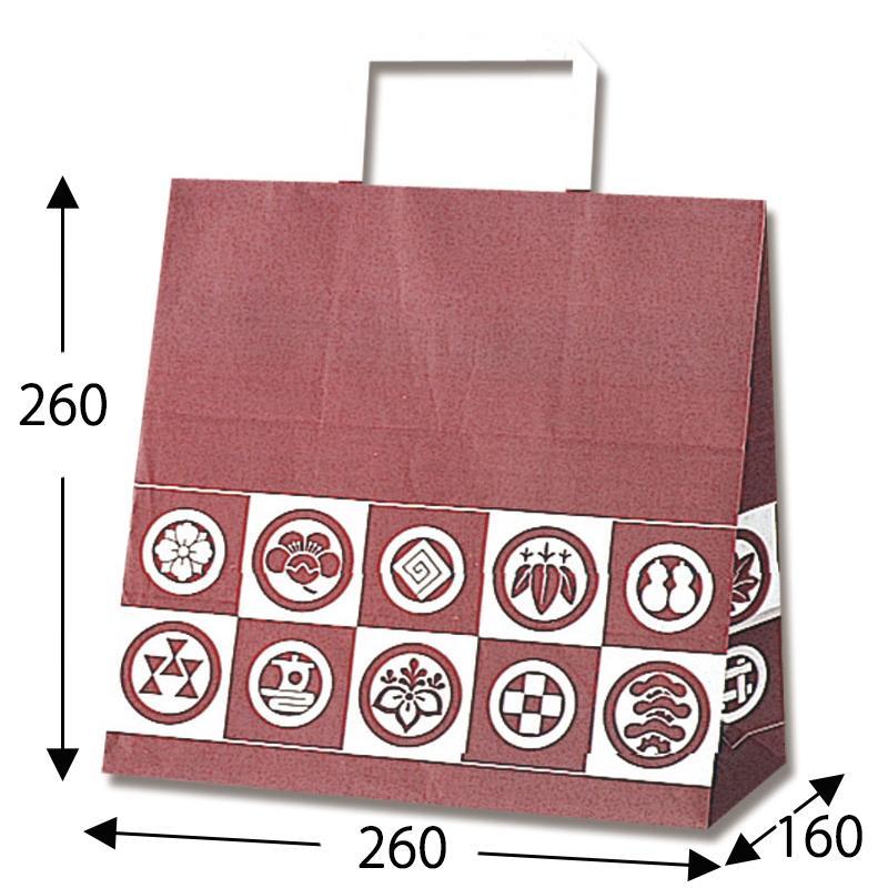 【ケース販売】紙袋 手提げ E 御用達 200枚 (幅260×マチ160×高さ260mm) 【業務用 手提げ袋 手提げ紙袋 マチ広】
