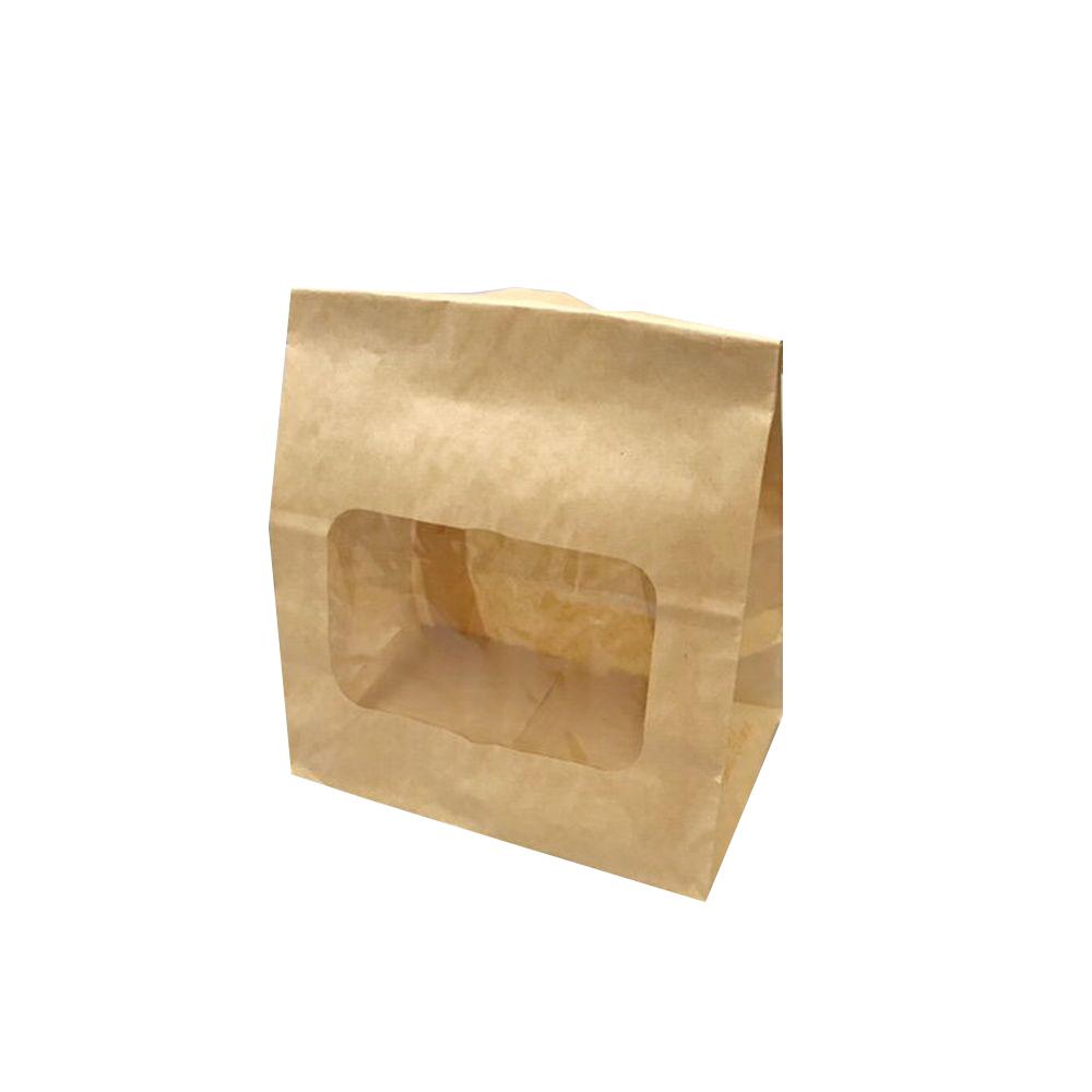 ルックバッグ NO.4S 未晒ムジ巾130×長さ165×マチ80mm 100枚【窓付き袋 耐油袋 茶無地 ドーナツ袋 から揚げ袋 コロッケ袋】