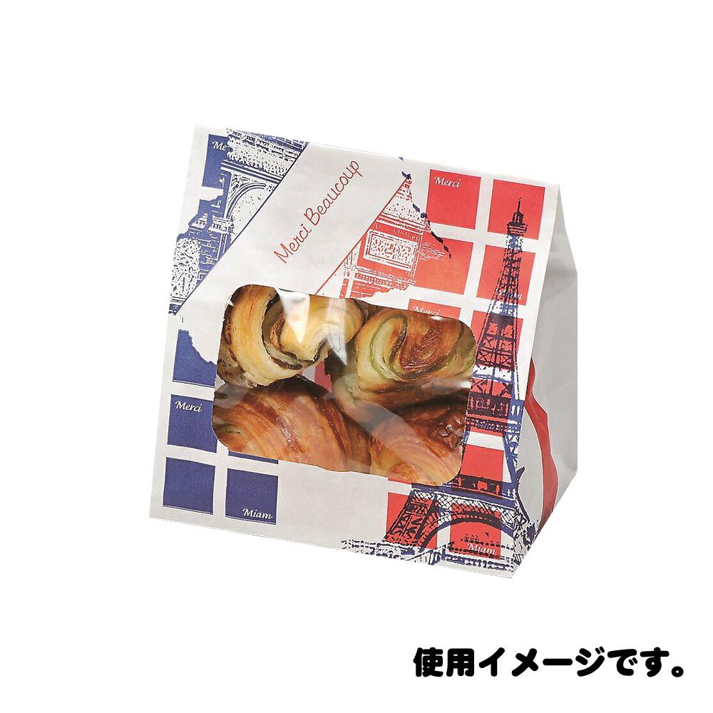 【ケース販売】ルックバッグ NO.4S エッフェル 2000枚 巾130×長さ165×マチ80mm【窓付き袋 耐油袋 ドーナツ袋 から揚げ袋 コロッケ袋】