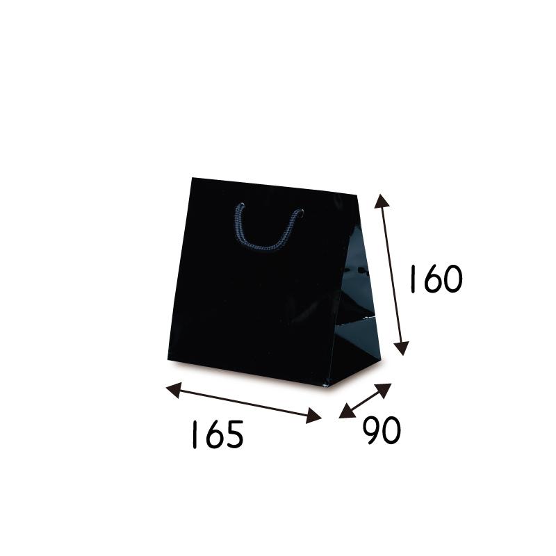 【ケース販売】紙袋 リトルバッグ ブラック 100枚 サイズ 165×90×160mm【業務用 高級 手提げ ラッピング つや有 グロス 光沢感】