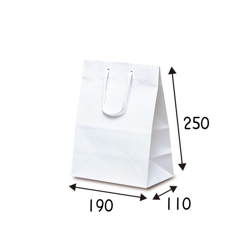 【ケース販売】紙袋 ミニバック ホワイト 100枚 サイズ 190×110×250mm【業務用 高級 手提げ ラッピング つや有 グロス 光沢感】